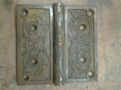 Old Victorian Hinges July 2016 (ianulimac) Tags: reuse reuseaction hardware door hinge victorian scrollwork art artist 1900 iron castiron pattern artdeco artnouveau motif cast deisgn old antique rust floral vegetal egpytian roman flowers figurative patternmaker spindle steel leaf stripes trees yale corbin russwin blw buffalo ny lostart shapes geometric found scrap stamped emboss house metal style stylized carved project repurpose