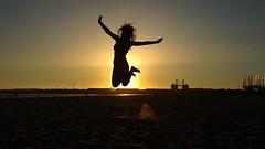 Sunset shot (Mery Pavon) Tags: sunset summer sun beach jump spain playa valdelagrana