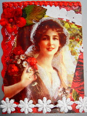 ATC Country Bride 060513 traded (ladychiara) Tags: red woman atc collage lady cat vintage bride kitten kitty cutandpaste