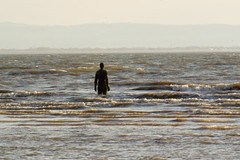 High Tide (Not Far From Here) Tags: sunset sea beach water statue liverpool ghostly hightide anthonygormley anotherplace humanfigure
