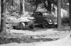 What's that lurking under a tree? (Ronald_H) Tags: bw film vw bug volkswagen nikon military air wwii beetle german vehicle 100 expired fm durch forte kraft kfer freude aircooled cooled wagen kdf fortepan 2013 militracks