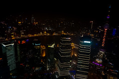 View of Pudong and the Bund from Jin Mao Tower (Daniel Dehe) Tags: china skyline architecture night skyscraper shanghai wideangle pudong bund zoomlens nex 1650mm sonynex nex5r sonynex5r selp1650 sonyselpz1650mmf3556