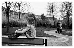 2013-05-02 RVG_3999-Thinking (Ralph on and off) Tags: girls people blackandwhite girl landscape nikon streetphotography almere nikond300 ralphvandergeest ralphvandergeestfotografie