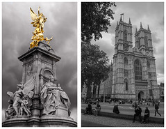 Queen Elizabeth and the Abbey (vividcorvid) Tags: greatbritain england sculpture abstract london tower art church westminsterabbey statue architecture europe unitedkingdom places buckinghampalace