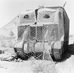 A Grant tank wearing 'Sun Shield' lorry camouflage in the Western Desert, May 1942.