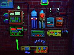 Armaturengesichter (greenoid) Tags: face gesicht comic faces hamburg tubes colourful bunt dunkel rohre schwarzlicht gesichter armaturen
