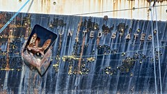 Rust, Peel, and Streak (robert_young) Tags: philadelphia port rust peeling paint ship streak steel flake faded anchor mooring weathered ropes hull peel corrosion oxidized ssunitedstates