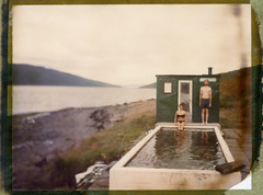 The Pool (Bastiank80) Tags: camera woman man color film pool field analog polaroid iceland large instant 4x5 sheet format bathing expired 79 westfjords wista bastiank