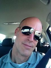 Talk about distracted driving... (63vwdriver) Tags: portrait sunglasses vw self volkswagen wagon head shaved jetta sportwagen 2011 originalfilter