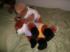 Fox meet Pup 6 (Neoguest) Tags: plushies buildabearworkshop redfox diapered brownsugarpup