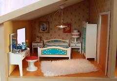 Lundby Schlafzimmer - bed room (*blythe-berlin*) Tags: orange vintage göteborg toys dolls furniture gothenburg 70s möbel byebye spielzeug dollhouse caco jahre puppenhaus lundby 70ziger biegepuppen doll´shouse