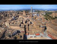 The Aerial View of Piazza Del Campo & Siena Cathedral, Tuscany, Italy :: HDR (:: Artie | Photography ::) Tag
