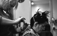 Chop chop (Trojan_Llama) Tags: ladies bw haircut film me women pentax super barber chop hp5 analogue pentaxmesuper ilford hairdressers id11 pentaxm