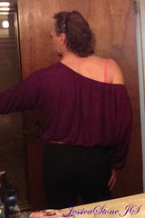 IMG_1506-1s (JessicaReM) Tags: pink black skinny belt purple top cd crossdressing jeans denim earrings crossdresser nowig crossdressed skinnyjeans offshoulder
