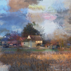 House on the moor (Lemon~art) Tags: light house colour texture reeds square landscape evening afterthestorm farm peaceful calm moor endoftheday impressedbeauty