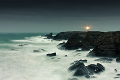 Cold morning of December (lea.maguero) Tags: longexposure lighthouse storm france water night dark photography blurry brittany rocks picture pointe phare belleile poulains