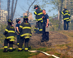 FDNY Firefighters Battle Brush Fire in Central Park, New York City (jag9889) Tags: city nyc ny newyork fire centralpark manhattan engine area ladder blaze compost fdny department firefighters apparatus 2012 conservancy composting themount twoalarm jag9889 y2012 4132012