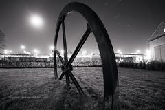 The Wheel (martin fredholm) Tags: longexposure november autumn sky bw moon monochrome wheel horizontal night gteborg stars sweden lawn moonlight hdr quadtone photomatix tonemapped 2013 signerad 3raws ruby5