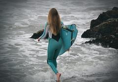 Surfer Girl 0033 (Griffin R. Lauerman) Tags: ocean girl waves surfer surfing pacificocean blond surfboard halfmoonbay wetsuit