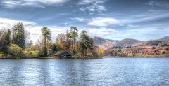 Springtime On Derwent Water (Osgoldcross Photography) Tags: wood trees sky lake mountains reflection tourism nature water pine clouds rural landscape spring nikon holidays raw lakes lakedistrict hills fells land vista derwentwater boathouse contrails hdr springtime photomatix tonemapped 5xp 5exposures handheldhdr nikond7100