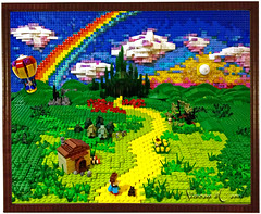 Follow the Lego Brick Road (Siercon and Coral) Tags: rainbow lego oz mosaic scarecrow tinman thewizardofoz dorthy moc yellowbrickroad
