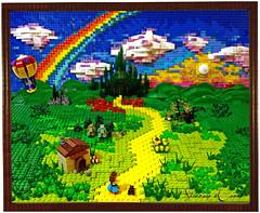 Follow the Lego Brick Road (Siercon and Coral) Tags: rainbow lego oz mosaic scarecrow tinman thewizardofoz dorthy moc yellowbrickroad