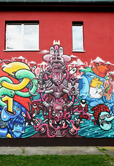 Saftladen: Red Totem (AgeAge) Tags: red berlin water illustration mouth graffiti design mixed eyes mural arms teeth funky totem elements colourful creatures crackhead charakter falkensee tentakel fks martinj saftladen ageage charakterdesign haevi mikadoev