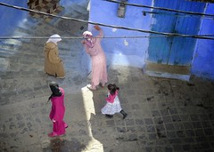 Time for … (halifaxlight) Tags: door pink blue girl walking alley women squares steps running morocco wires medina talking chefchaouene