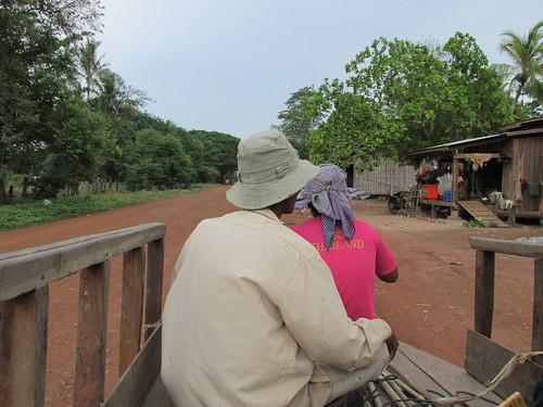 Autostop en charrette, Cambodge