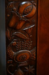 Hungarian secession. Peacock motif (elinor04 thanks for 34,000,000+ views!) Tags: old flower bird motif floral wooden hungary peacock carving secession artnouveau ornaments wardrobe 1913 motifs hungarian ornamentation