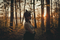 Eva and the night. (gianteyephotography) Tags: portrait lake nature female night forest landscape outdoors evening sticks model woods sunburst concept conceptual