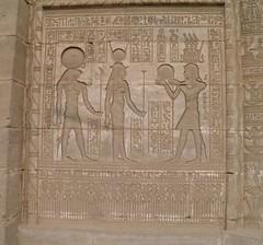 Dendera, Roman period mammisi temple, exterior lateral wall panel, Trajan, Hathor, and Horus (dr.heatherleemccarthy) Tags: sculpture monument temple ancient roman egypt relief horus trajan hathor dendera mammisi
