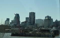 Montreal. City skyline from the Saint Lawrence and the port. (denisbin) Tags: bridge church skyline catholic montreal biosphere dome racoon olympicstadium olympicpark oratoirestjoseph parcdumontroyal parcolympique mountroyalpark staqdeolympique