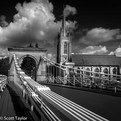 Marlow Bridge (Scrufftie) Tags: thames england bridge church blackwhite canon photoshopcc churchofengland summer buckinghamshire monochrome marlow highcontrast style suspensionbridge bw mono uk canong7x