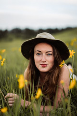 Wild Flowers (nicksparksphotography) Tags: flowers woman nature girl female model colorado blueeyes boulder lipring redlipstick wildflowers chautauqua bighat early20s layingonstomach zeissotus55mm 5dsr