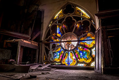 the Rose (Rodney Harvey) Tags: urban abandoned church glass st rose louis decay pipe stained organ missouri urbex