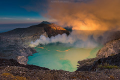 Sunrise at ijen volcano (Mytruestory Photography) Tags: travel sky mountain nature horizontal sunrise indonesia landscape outdoors photography volcano java nopeople steam gas environment sulphur craterlake geology scenics rockformation volcaniccrater colorimage beautyinnature landfeature ijen kawah highangleview traveldestination physicalgeography sunrisedawn mytruestoryphotography smokephysicalstructure rockobject