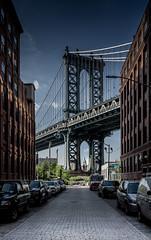 Manhattan bridge, Dumbo (Sami Shead) Tags: street city bridge newyork brooklyn america suspension manhattan dumbo buidlings