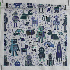 robots in space - blue on grey (Cecca W) Tags: patterns spoonflower basiccottonultra swatch cotton fabric pattern design patterndesign surfacedesign illustration robots