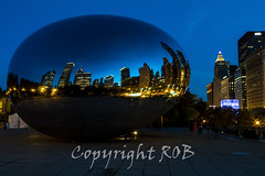Chicago-2087.jpg (CitizenOfSeoul) Tags: city blue usa chicago night downtown indiana northamerica cloudgate mirroring