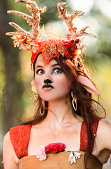 Deer in The Headlights (wyojones) Tags: texas texasrenaissancefestival toddmission texasrenfest renfest renfaire renaissancefaire faire renaissancefestival festival trf girl woman readhead maiden wench cute pretty lovely gorgeous beautiful beauty browneyes smile lips redlips deer enchantedforest vien antlers nose fairy