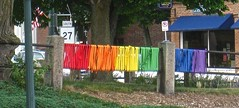 wrapped fence (muffett68 ) Tags: church fence rainbow wrapped uu uuchurch fencefriday