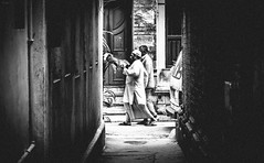 Light & Shadow (arkamitralahiri) Tags: travel light shadow people india monochrome contrast vintage indian streetphotography surreal streetscene monotone alleyway muslims hindu minimalist