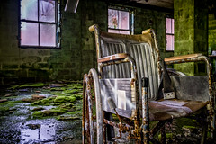 Still Life with Moss and Wheelchair (Entropic Remnants) Tags: pictures abandoned photography photo fuji image photos pics picture pic images photographs photograph fujifilm exploration asylum f4 remnants urbex statehospital entropic xt1 embreeville 1024mm embersville