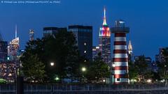 Newport Lighthouse (DSC01676-Edit) (Michael.Lee.Pics.NYC) Tags: longexposure lighthouse newyork night marina newjersey twilight jerseycity cityscape sony pride newport hudsonriver bluehour 2016 midtownmanhattan a7rm2 fe70300mmg