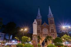 Saigon Notre-Dame Basilica (axxonlive) Tags: city longexposure nightphotography travel light monument night landscape neon sony country structure vietnam saigon hochiminh lightroom travelandlife nex5t