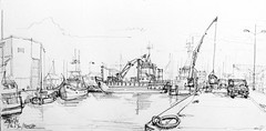Ile d'Yeu, le port de commerce (Croctoo) Tags: croctoo croctoofr croquis crayon yeu port bateaux grues
