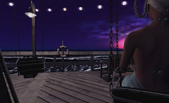 "Look#162 - ""All days come to an end, even the bad ones."" (LoneSolitarian) Tags: ocean life light sunset shadow sea sky people woman art water girl beauty fashion female night dark photography photo 3d model feminine avatar dream gimp charm swing sl human secondlife virtual blonde attractive second lone lovely sim firestorm windlight"