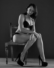 Amabel Black and White (stuart 1963) Tags: blackandwhite canon wooden high chair sitting legs knickers bra heels blackunderwear 40d beautifulyoungwoman sigma50mmf14exdg blackbarnstudio