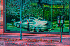 ana2.0 americana reflection D (fredtruck) Tags: people car architecture glasses 3d cafe cityscape hdr zeisslens redcyan 3dconversion adobephotoshopcs5 2doriginal sonydscrx100 anaglyph20